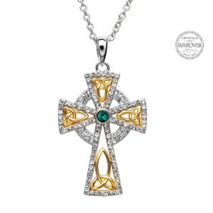 Swarovski Crystal Trinity Sterling Silver Irish Cross
