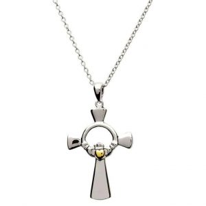 Claddagh Sterling Silver Cross Gold Heart