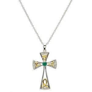 Celtic Trinity Genuine Emerald Diamond Cross
