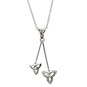 Celtic Trinity Knot Stone Set Dangle Necklace