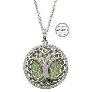 Tree Of Life Irish Necklace Peridot White Swarovski Crystal