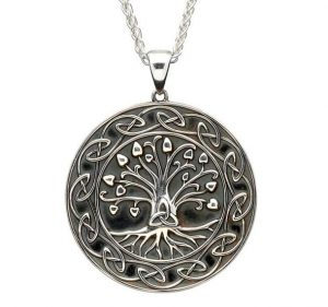 Sterling Silver Tree Of Life Trinity Medallion Necklace