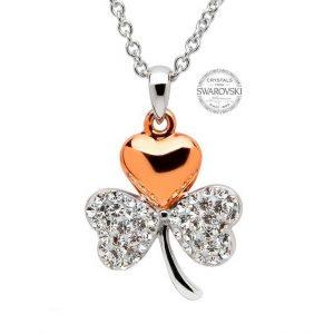 Rose Gold Silver Swarovski Crystal Shamrock Necklace
