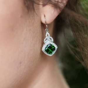 Sterling Silver Green CZ Trinity Knot Halo Earrings