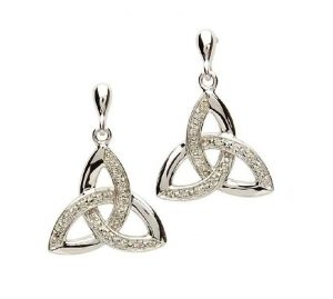 Celtic Trinity Knot Genuine Diamond Earrings