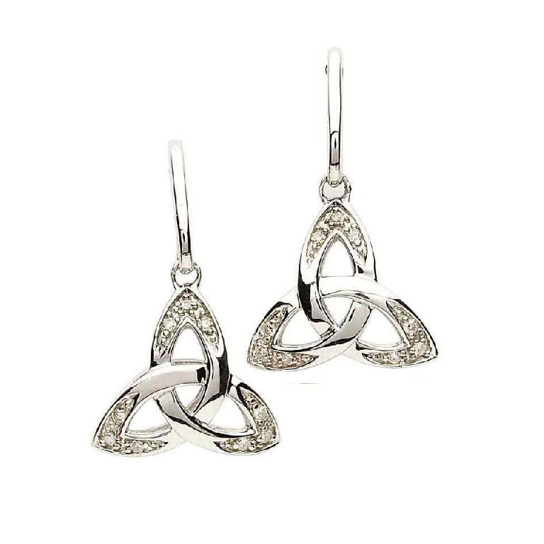 6a149b18f Celtic Trinity Knot Genuine Diamond Silver Earrings se1063 - Skellig Gift  Store