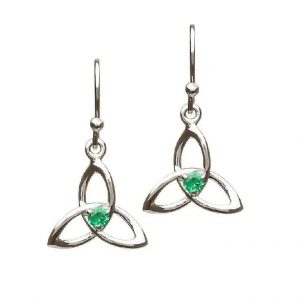 Celtic Irish Green Drop Trinity Knot Earrings