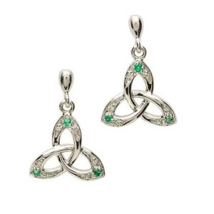 Celtic Trinity Knot Earring Genuine Emerald Diamond