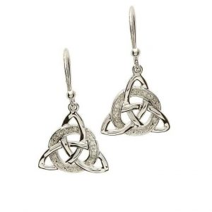 Celtic Trinity Knot Diamond Set Silver drop Earrings