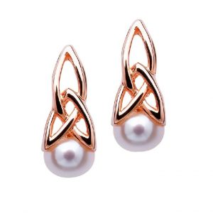 Celtic Sterling Silver Pearl Rose Gold Earrings