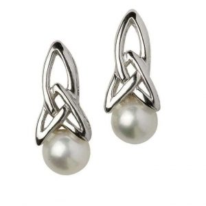 Celtic Sterling Silver Pearl Stud Earrings