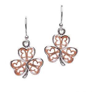 Silver Filigree Rose Gold Plated Shamrock Earring