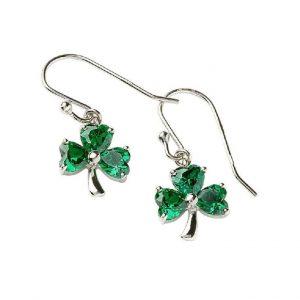 Green Crystal Shamrock Drop Earrings