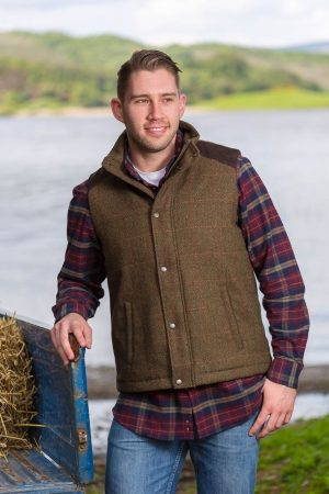 lee Valley Moss Green Kerry Irish Tweed Gilet