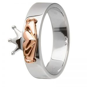House of Lor Sterling Silver Rose Gold Claddagh Ring