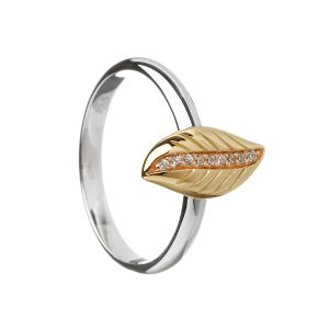 House of Lor Sterling Silver Rose Gold Leaf Ring