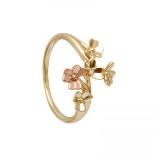 9ct Love Shamrock Yellow & Rose Gold Diamond Ring