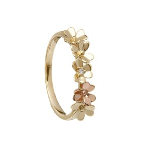 9ct Love Shamrock Yellow & Rose Gold Diamond Band
