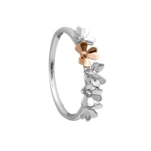 9ct Love Shamrock White & Rose Gold Diamond Band