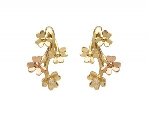 9ct Gold Love Shamrock Diamond Set Stud Earrings
