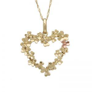 9ct Gold Love Shamrock Heart Diamond Set Pendant