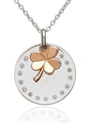 Sterling Silver Rose Gold Irish Shamrock Necklace