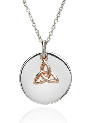 Sterling Silver Rose Gold Irish Trinity Knot Necklace