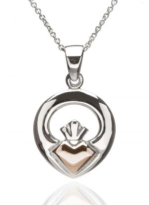 Sterling Silver Rose Gold Iconic Claddagh Pendant