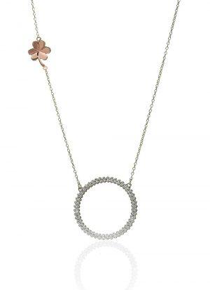 Sterling Silver Rose Gold Shamrock Round Necklace