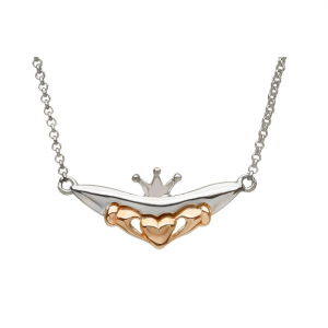 Sterling Silver & Rose Gold Claddagh Split Chain