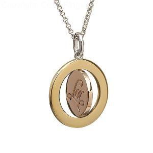 Sterling Silver Rose Gold Irish Spinning Disc Pendant