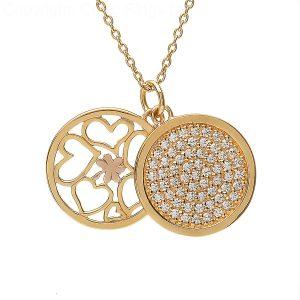Sterling Silver Rose Gold Shamrock Heart CZ Pendant