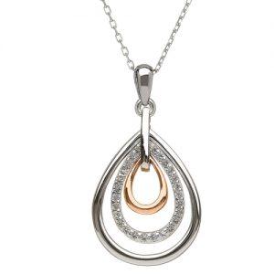 Sterling Silver Rare Irish Rose gold tear drop Pendant