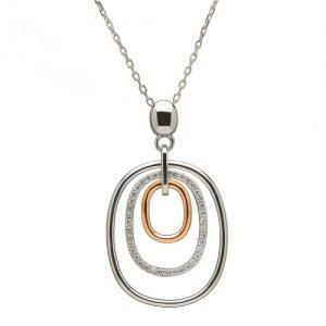 Sterling Silver Rare Irish Rose gold Drop Pendant