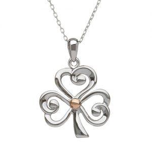 Sterling Silver & Rose gold Open Shamrock Pendant
