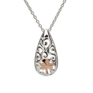 Sterling Silver Rose Gold Shamrock Celtic Pendant