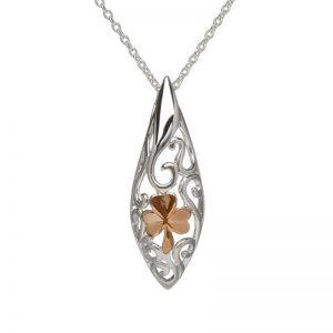 Sterling Silver Rose Gold Shamrock Celtic Necklace