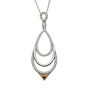 Sterling Silver Rare Irish Rose Gold CZ Chandelier Pendant