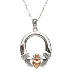 House of Lor Sterling Silver Rose Gold Claddagh Pendant