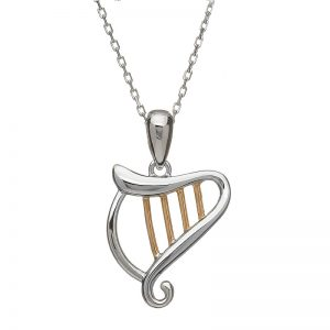 House of Lor Sterling Silver Irish Gold Harp Necklace