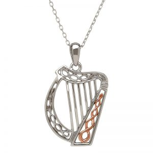 House of Lor Sterling Silver Rose Gold Celtic Harp Necklace