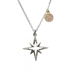 House of Lor Sterling Silver Rose Gold Star Necklace