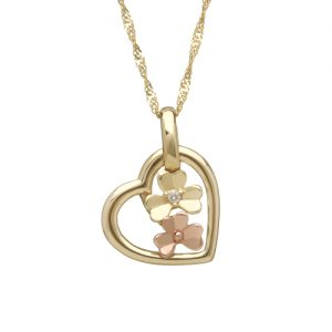 9ct Irish Gold Love Shamrock Diamond Heart Pendant