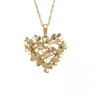 House of Lor Love Shamrock Diamond 9ct Gold Pendant