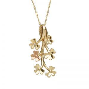 Love Shamrock Diamond 9ct Gold Spray Pendant