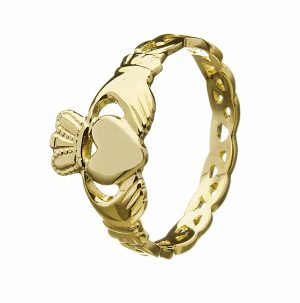 10K Gold Celtic Knot Claddagh Ring