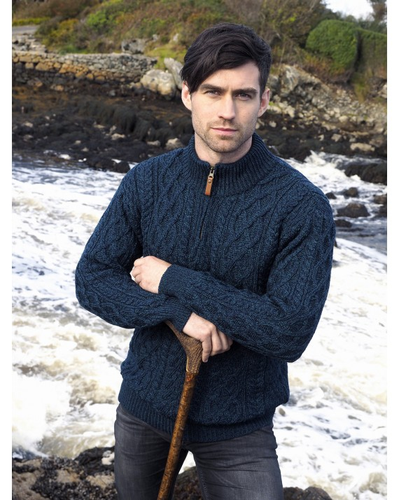 098ef9549b89 Gents Blackwatch Merino Wool Half Zip Aran Sweater