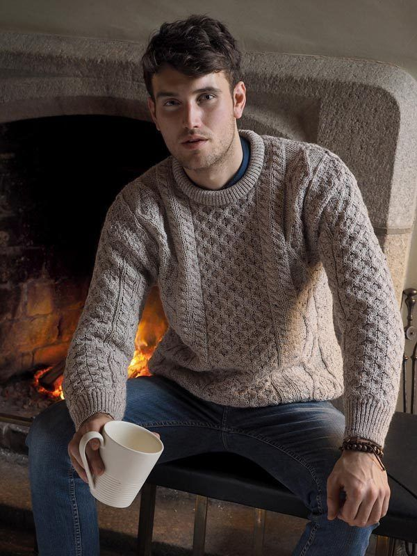 Oatmeal Irish Aran Wool Sweater By West End Knitwear Ireland