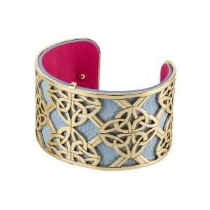 Celtic Bangle Gold Plated Trinity Knot Leather Irish Cuff Bracelet