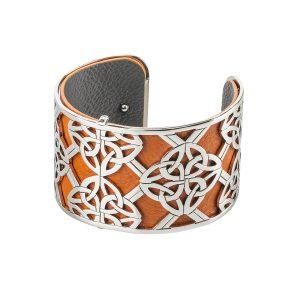 Celtic Bangle Trinity Knot Orange Leather Irish Cuff Bracelet
